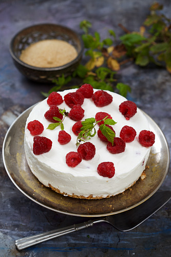 Cold Cheesecake with raspberry