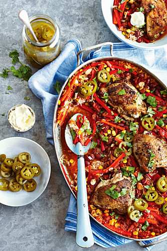 Mexican chicken rice bake with pickled jalapeno