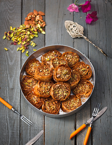 Baklava with almonds and pistachios (Greece)