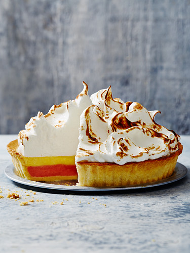 Rhubarb and meringue pie, sliced