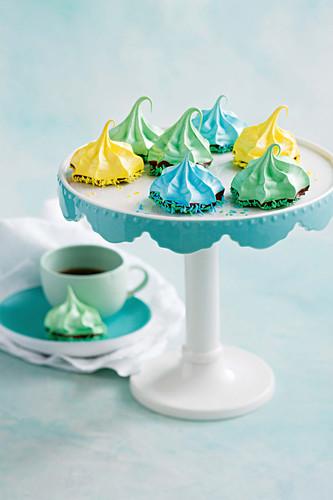 Choc-dipped colorful meringue bites