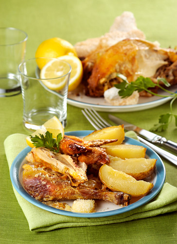 Duck legs with brandy and potatoes