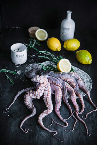 Raw Octopus with Fresh Rosemary, Lemons and Olive Oil