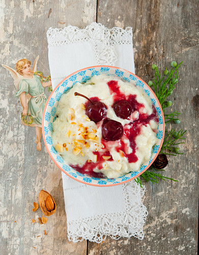 Rice pudding with cherry compote and almonds (Denmark)