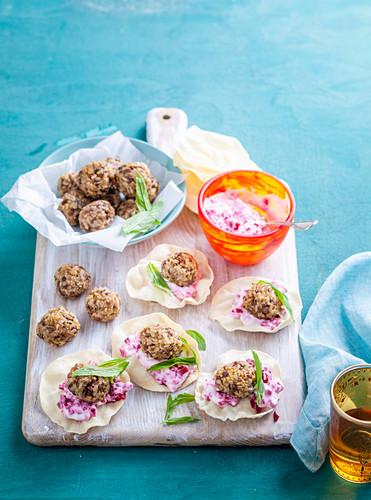 Vegeterian lentil balls with Beetroot Raita