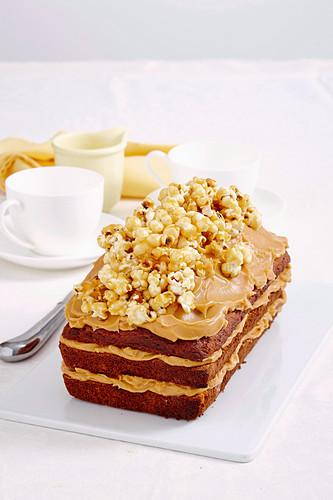 Caramelised popcorn and banana cake
