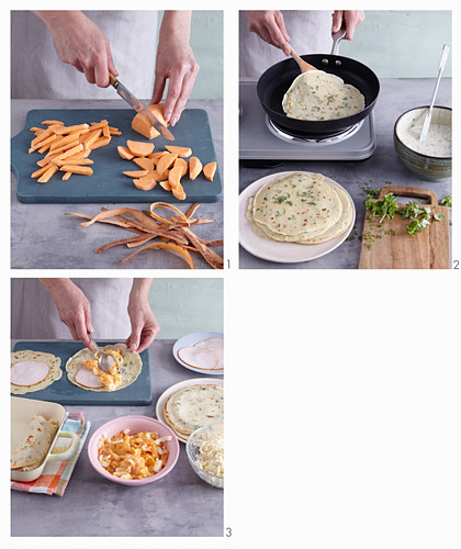 Stuffed sweet potato and herb crepes being made