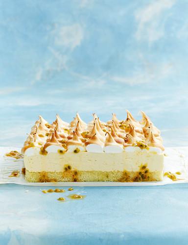Lemon mousse meringue cake