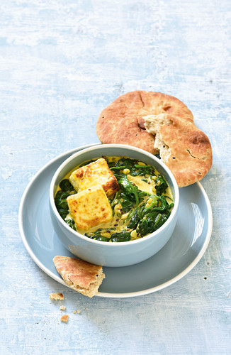 Palak Paneer (Indian style spinach with soft cheese )