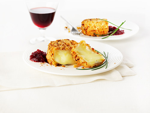 Breaded camembert with cranberry jam