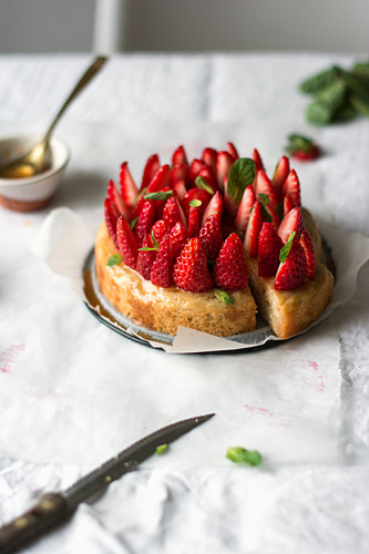 A basil cake with fresh strawberries and mint syrup