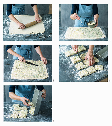 Pull-apart bread with herb butter and alpine cheese being made