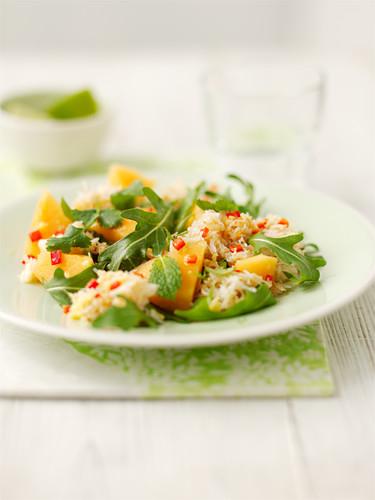 Crab, melon, and rocket salad