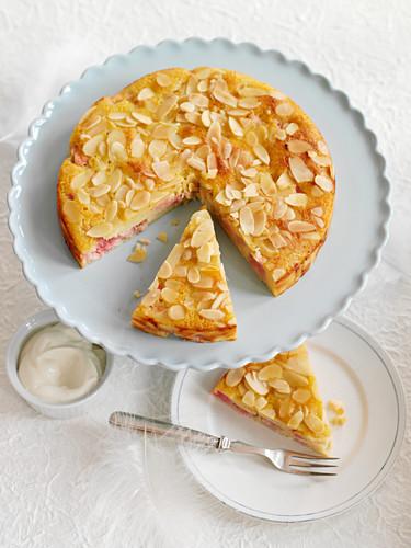 Almond and rhubarb cake, sliced