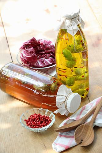 Hop vinegar and hop oil