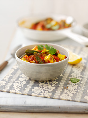 Okra curry with tomatoes and coriander leaves