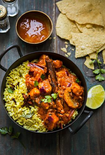 Vegetarian tikka masala with quorn, rice, chutney and papadams (India)