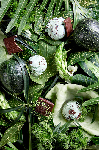 An arrangement of green shades made from vegetables, leaves, flowers and scoops of mint ice cream (full frame)