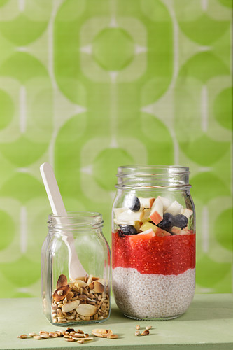 Chia pudding with nuts and fruits to take away