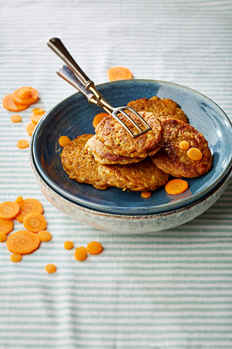 Carrot fritters in a ceramic bowl