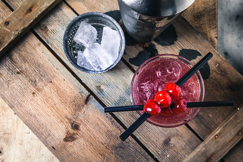 A Singapore Sling with cherry liqueur