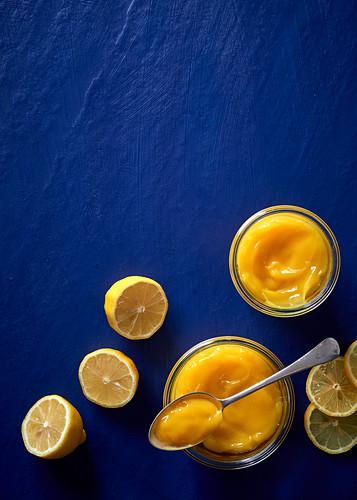 Homemade lemon curd in glasses (top view)