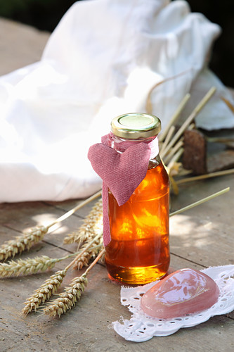 Massage oil made from wheat germ oil, marigolds, lavender and grapefruit oil as a gift from mums-to-be