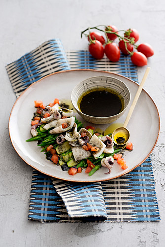 Cuttlefish Salad and Vegetables with Cuttlefish Ink Vinaigrette