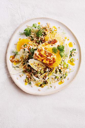 Haloumi with barley salad