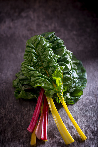 Different coloured chard leaves