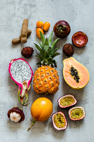 Exotic fruits on a concrete background
