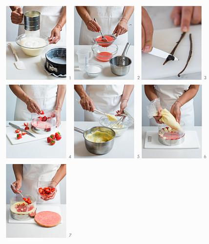 Preparing Fraisier Cake