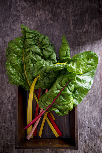 Rainbow Chard on a wooden Tray