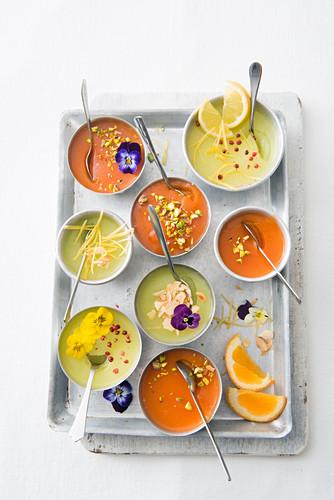 Lemon and orange granita in small bowls