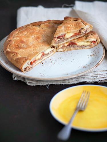 Focaccia di carnevale salentina (stuffed Italian bread for carnival)