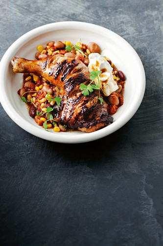 Texan grilled chicken with cowboy beans