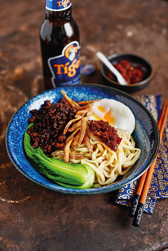 Ban Mian - a noodle dish with mince and pak choi from Singapore