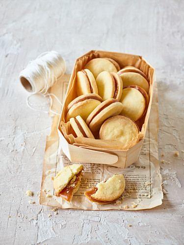 Alfajores (biscuits from Argentina) in a basket