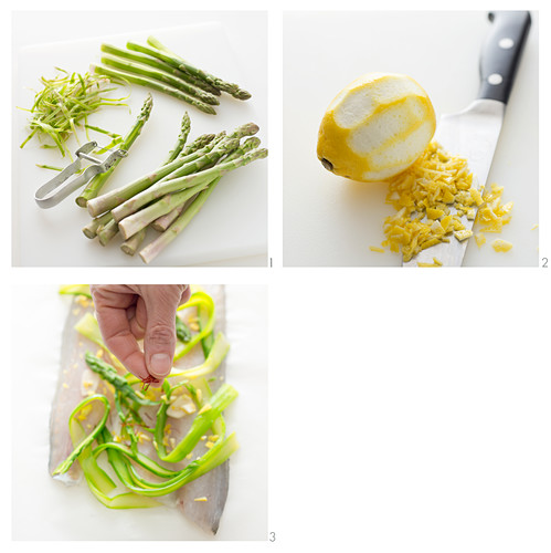 Bass fillets with green asparagus, lemon zest and saffron being made