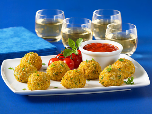 Arancini with a tomato dip