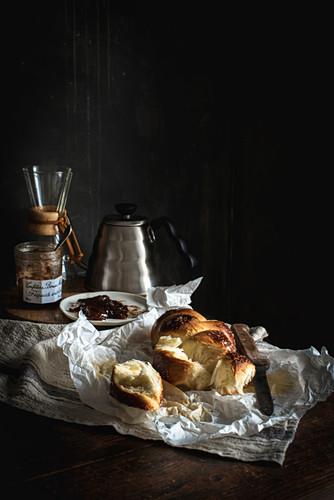 Fresh challah bread (Jewish cuisine) for breakfast