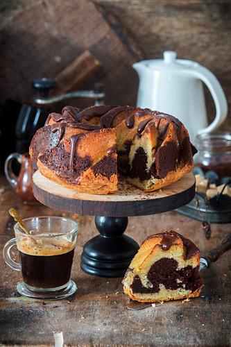 Marbled chocolate cake