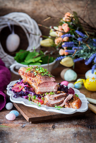 Roast pork with red cabbage for Easter