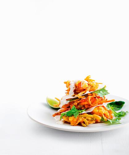 Vegetable pakora salad with fruit chutney yoghurt