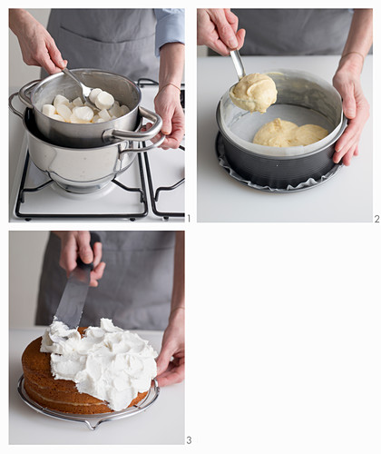 Lemon cake with marshmallow frosting being made