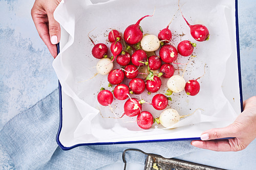 Radishes in an oven dish