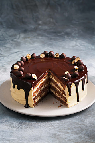 Nut nougat cake with chocolate covered hazelnuts