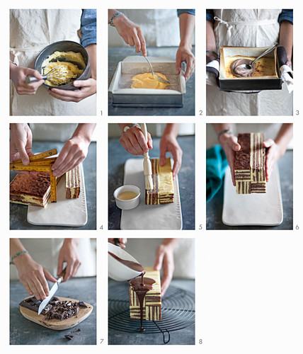 Millerighe cake (chocolate cake with a geometric pattern) being made