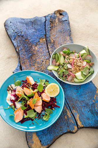 Smoked salmon salad with horseradish and a warm rice noodle salad