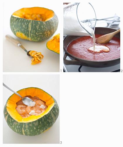 Prawns in a creamy coconut sauce served in a pumpkin being made